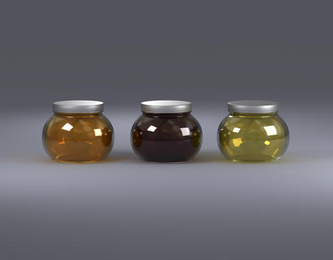 3 glasses of jars with honey front view Photo