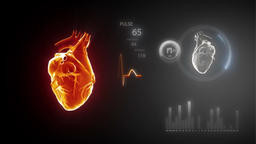 Spinning With Heart And Pulse Trace Footage