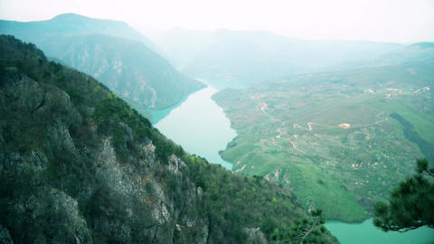 Beautiful View of the Canyon with the River Stock Video Footage