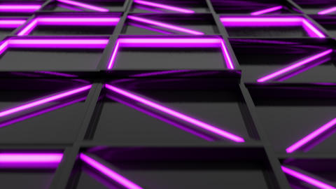 Wall of black rectangle tiles with purple glowing elements Animation