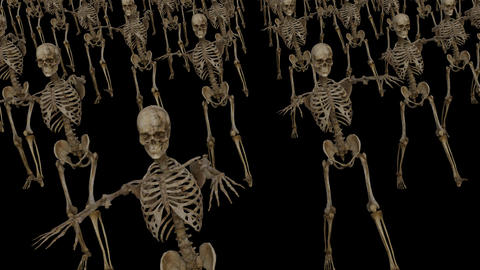a crowd of skeletons moves forward ,Loop, Animation, Alpha Channel Animation