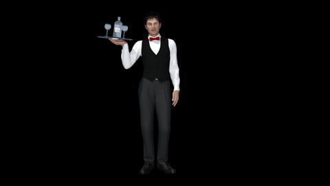 Waiter With A Tray Is Staning,animation,transparent Background CG動画素材