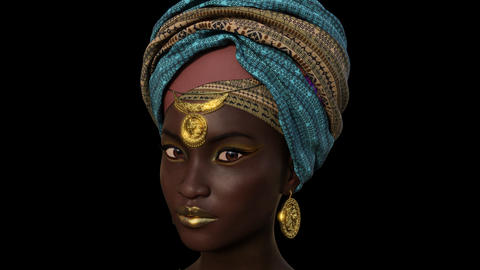 Face of a Beautiful African Girl ,Animation, on the Transparent background Animation
