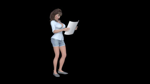 A girl is reading a something on a piece of paper, Animation, Alpha Channel GIF