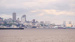 Panning on cityscape, skyline panoramic panorama of Quebec City, Canada Footage