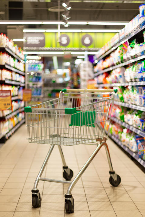 Empty Shopping cart in supermarket Photo