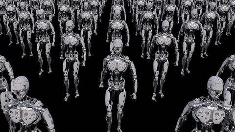 men robots is coming , loop, animation, transparent background Animación