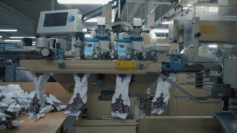 Productional line sewing products socks Live Action