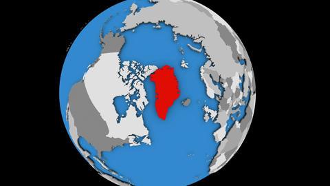 Greenland on political globe Animation
