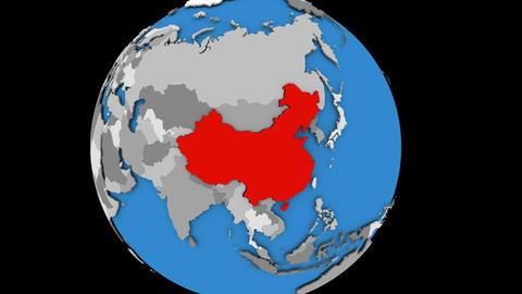 China on political globe Animation