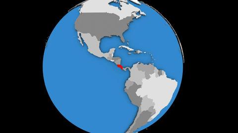Costa Rica on political globe Animation