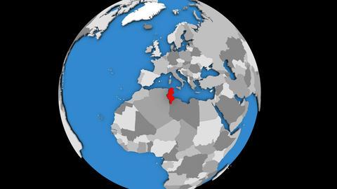 Tunisia on political globe Animation