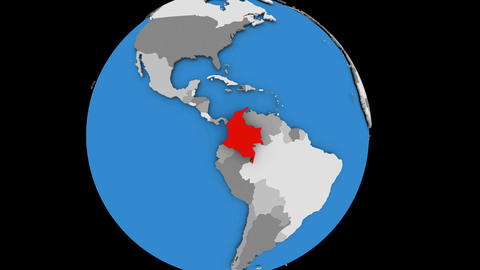 Colombia on political globe Animation