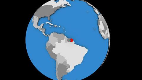 French Guiana on political globe Animation