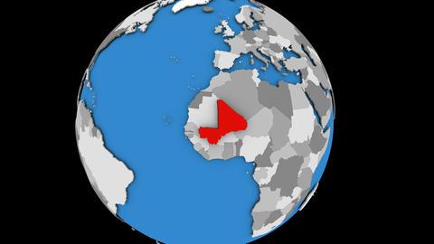 Mali on political globe Animation