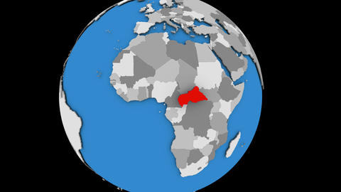 Central Africa on political globe Animation