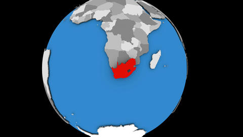 South Africa on political globe Animation