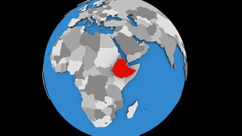 Ethiopia on political globe Animation