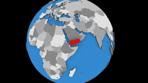 Yemen on political globe Animation