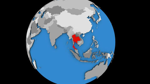 Thailand on political globe Animation