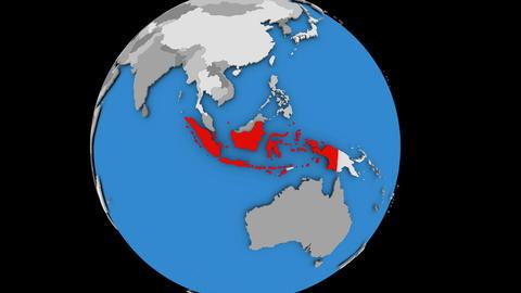 Indonesia on political globe Animation