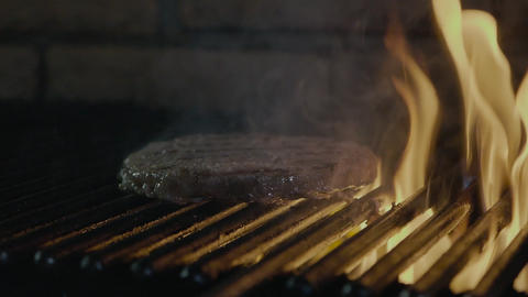 Fast food barbecue steak cooking on the fire grill GIF