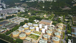 4k aerial video of a water treatment plant Archivo
