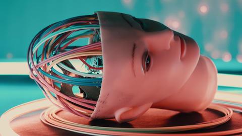 Robot head future technology concept, artificial intelligence robotics Footage