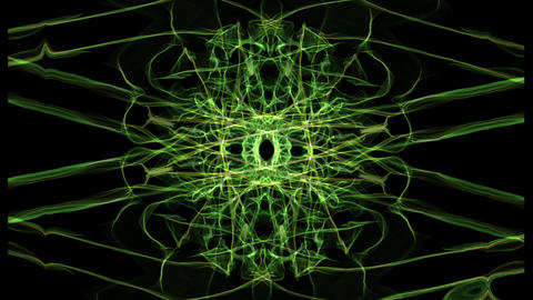 Green and yellow fractal patterns in rotation, abstract footage on black area Animation