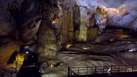 observation deck lamps line and bright ceiling in Paradise Cave Footage
