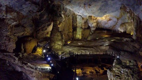inside Paradise Cave panoramic view from entrance Footage