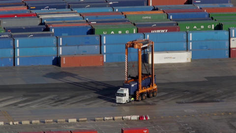 Activity in the container terminal.Time Lapse Footage
