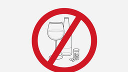 Alcohol prohibition symbol, get drunk, booze ban writing with copy space. No alc Footage