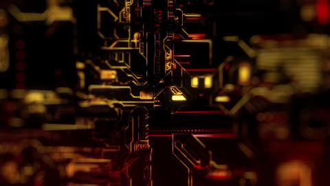 Cyber Tech Digital Background - Front View - DOF - Red Gold Animation