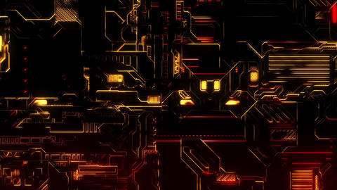 Cyber Tech Digital Background - Front view - Red Gold Animation