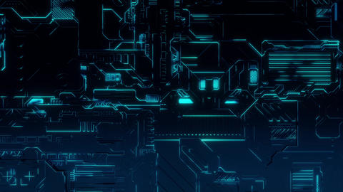 Cyber Tech Digital Background - Front View - BlueGreen Animation