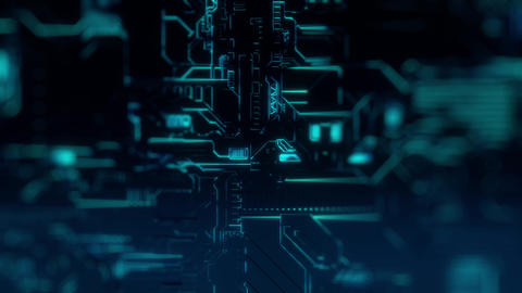 Cyber Tech Digital Background - Front View - DOF - BlueGreen Animation