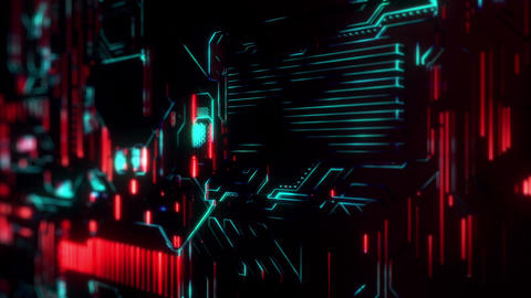 Cyber Tech Digital Background - Red Green Animation