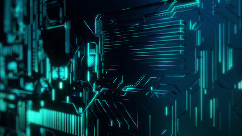 Cyber Tech Digital Background - BlueGreen Animation