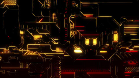 Cyber Tech Digital Background - Front View zoom out - Red Gold GIF