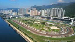 Aerial video of racecourse ビデオ