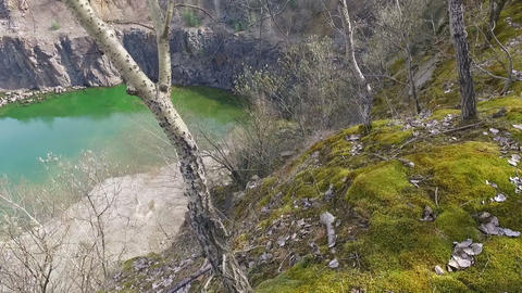 Quarry Abandoned Stone Open Pit Filled With Blue Water Footage