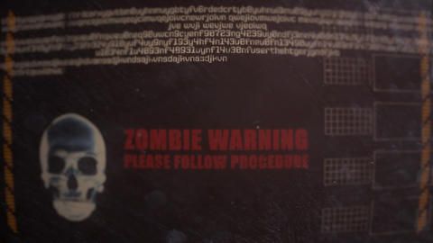Zombie Warning Alert on an Old Dirty Monitor Footage