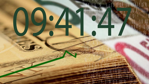 digital timer on banknote background Footage