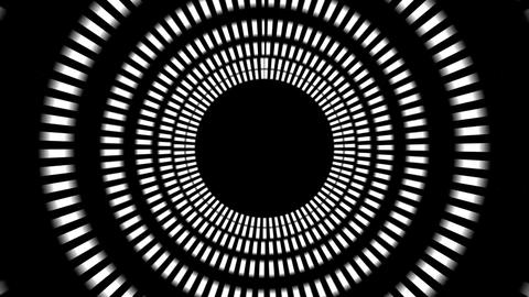 Black and White Flickering psychedelic circles HUD Footage