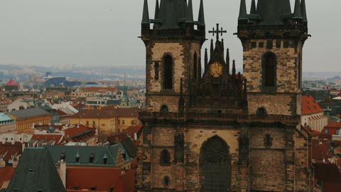 Close-up Aerial Shot of the Church of Our Lady before Tyn in Prague, Czech Repub Footage
