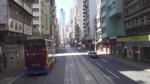 Streets of Hong Kong from double-decker tram Footage