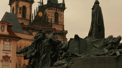 Cinematic Shot of the Jan Hus Memorial in the Old Town Square of Prague, Czech R Footage
