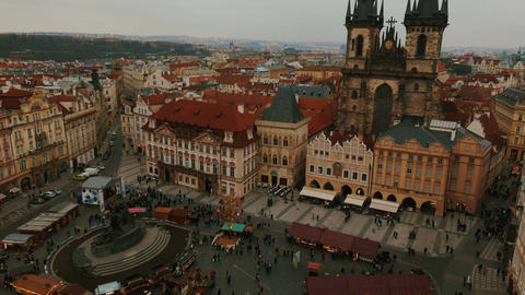 Aerial Panoramic View of Prague Featuring the Old Town Square in Prague, Czech R Footage