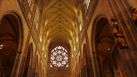 POV Walk in the Central Aisle of St Vitus Cathedral in Prague, Czech Republic (C Footage